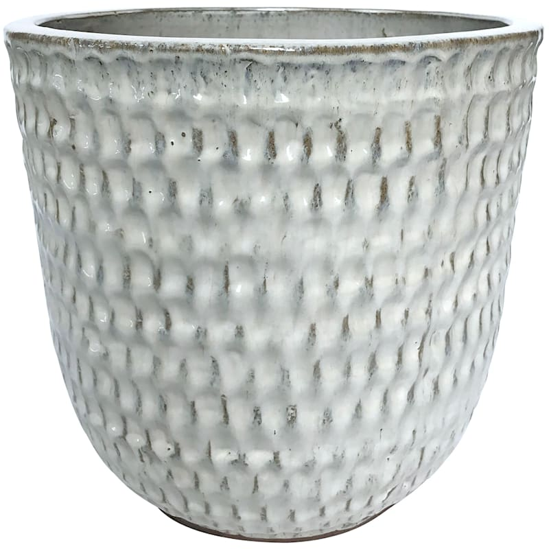 Corey 8.7in. Beige Outdoor Ceramic Planter