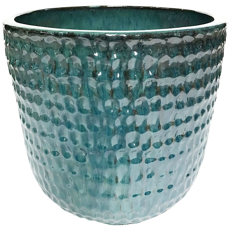 Corey 10.6in. Forest Green Outdoor Ceramic Planter
