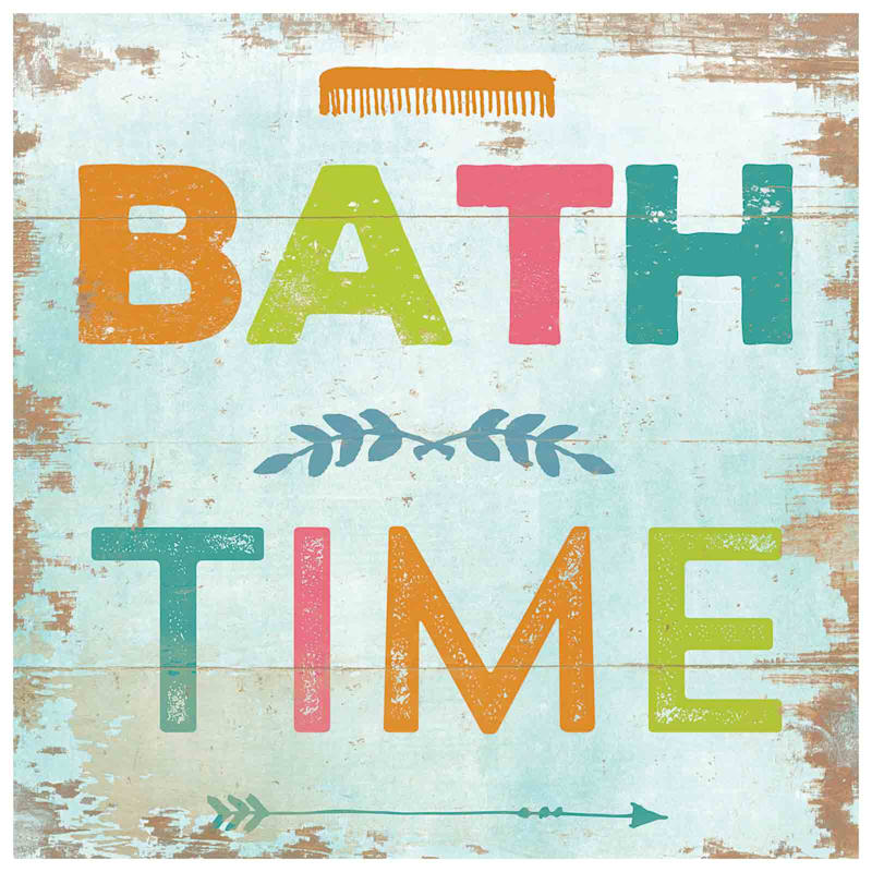 18X18 Rustic Bath Time Phrase Canvas Wall Art