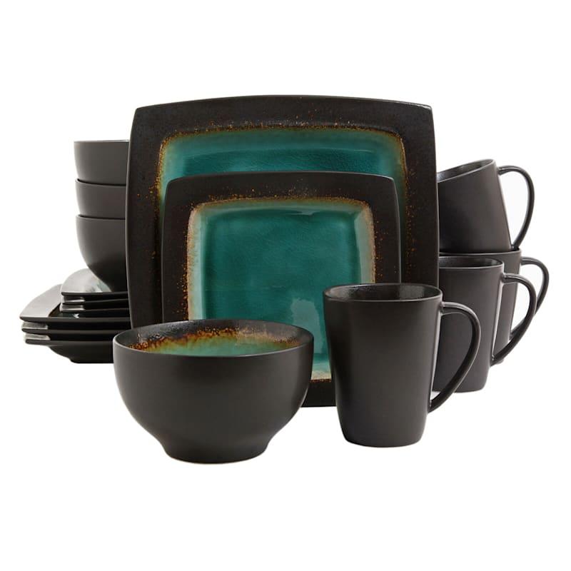 Ocean Paradise 16-Piece Square Dinnerware Set Jade Stoneware