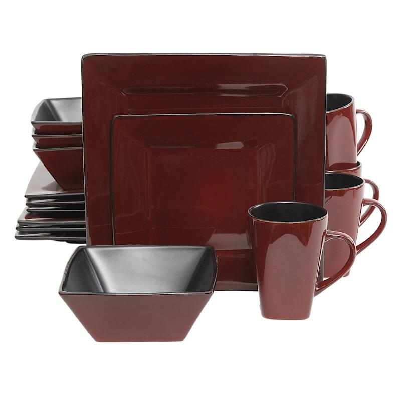 GE Kiesling 16-Piece Hard Square Dinnerware Set Red Black Stoneware