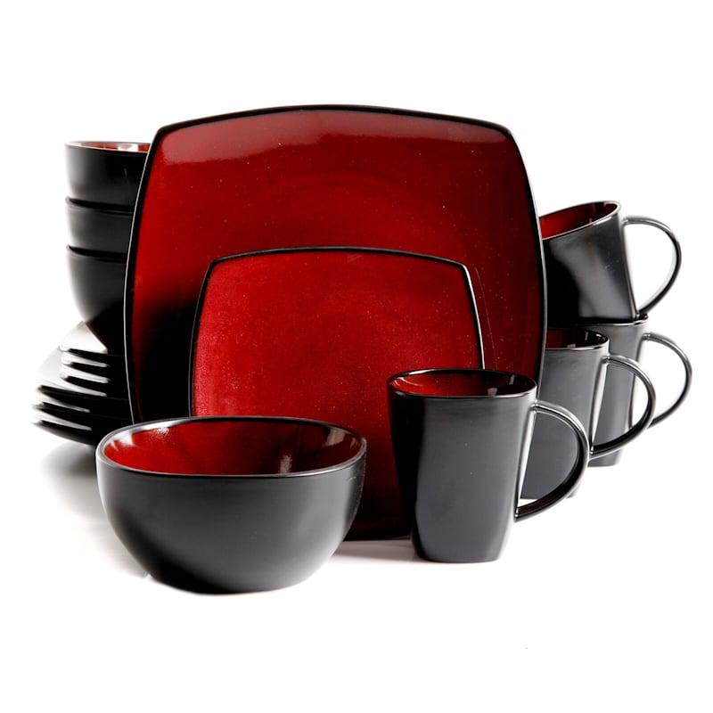 Soho Lounge 16-Piece Dinnerware Set Red Black Reactive Stoneware