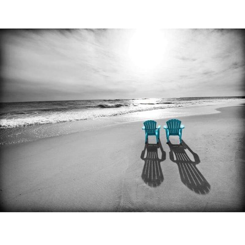 28X22 Black/White Beach Chair Photo Canvas