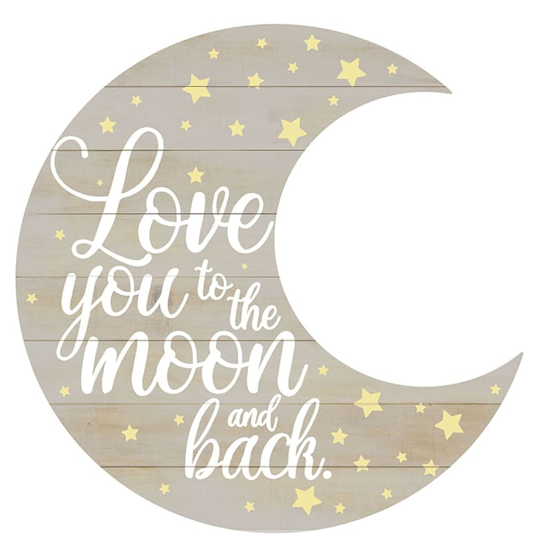 24X24 Love You To The Moon And Back Die Cut Round Wood Board Wall Art