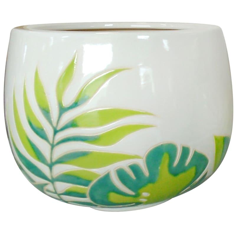 Earthenware Yunomi Pot/Leaves