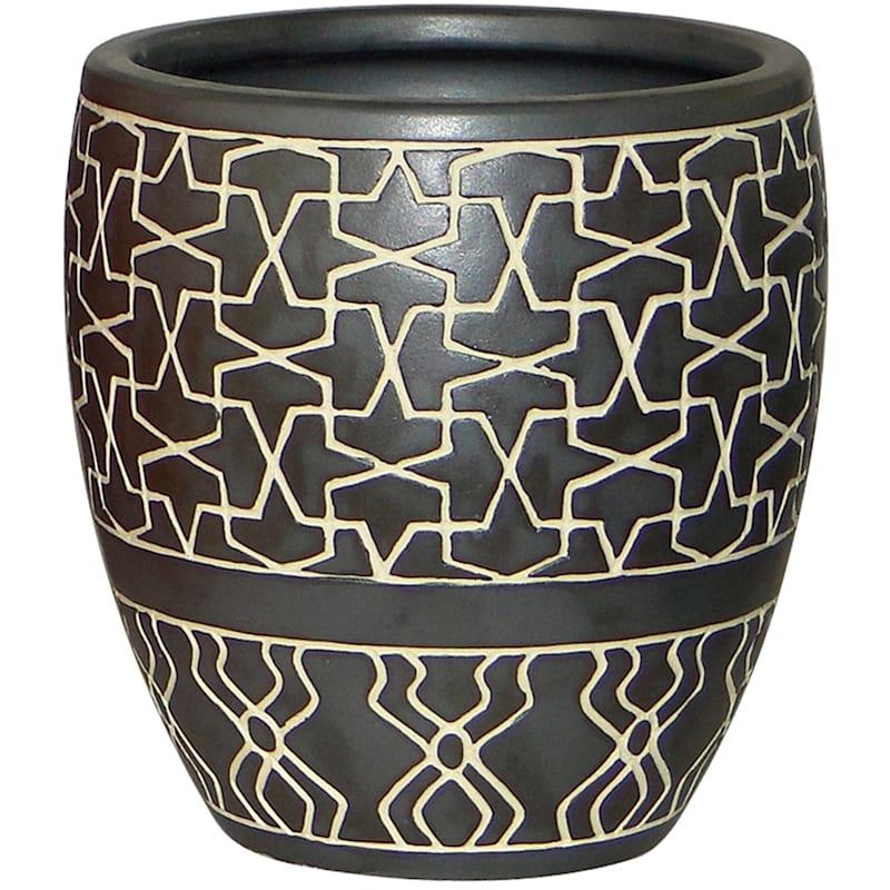 Earthenware Hanging Pot. Matte Dark Grey Unglazed Lines
