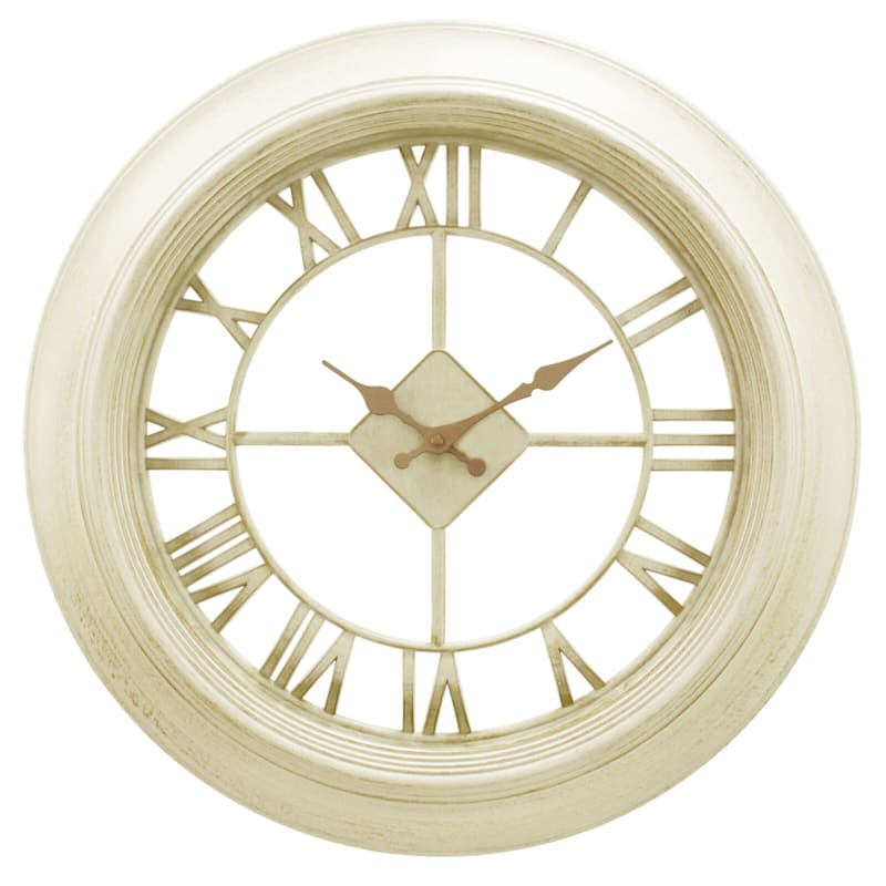 20in. Distressed White Diamond Wall Clock With Clear Dial