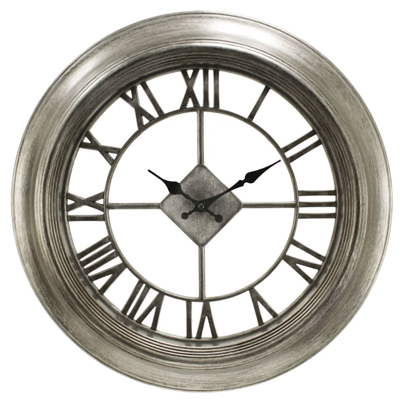 20in. Antique Pewter Diamond Wall Clock With Clear Dial