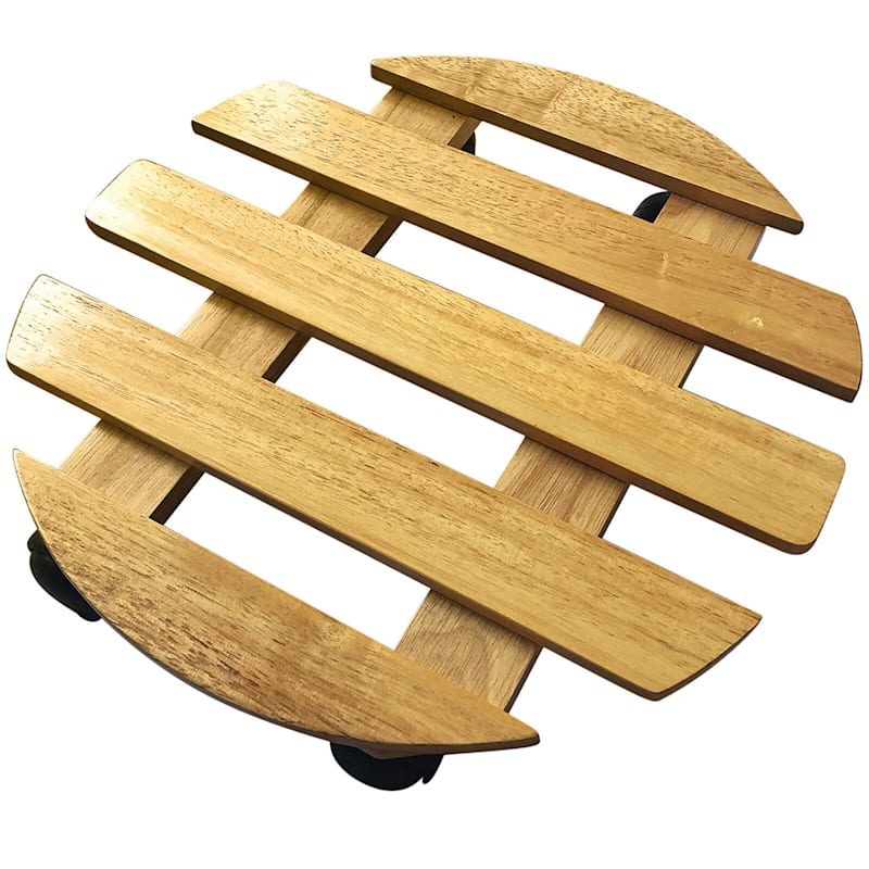 13-in Round Wood Dolly Natural