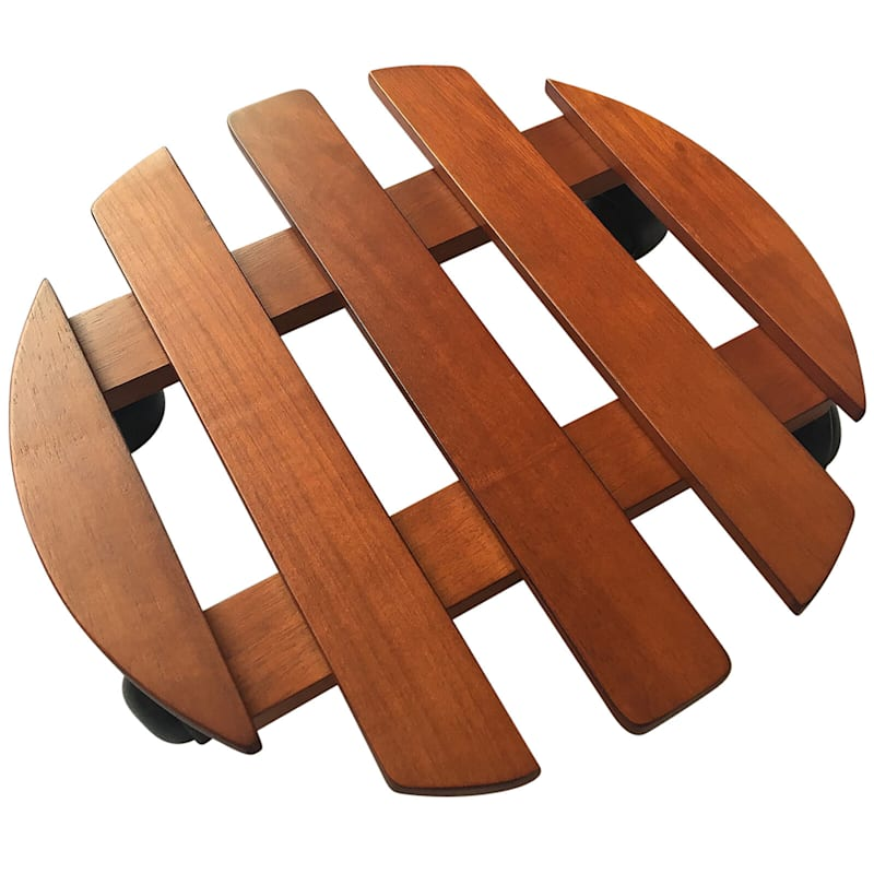 13in. Round Wood Dolly Brown