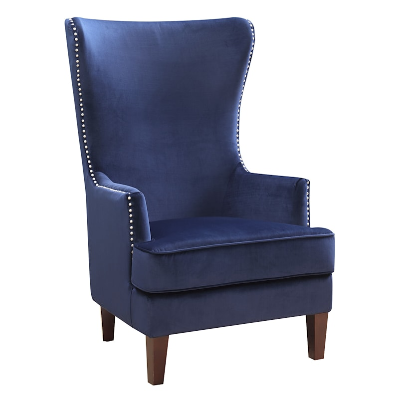 Kori Navy High Back Accent Chair with Nailhead Trim