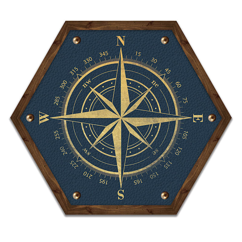 10X12 Blue Compass Hexagon Wood Wall Art