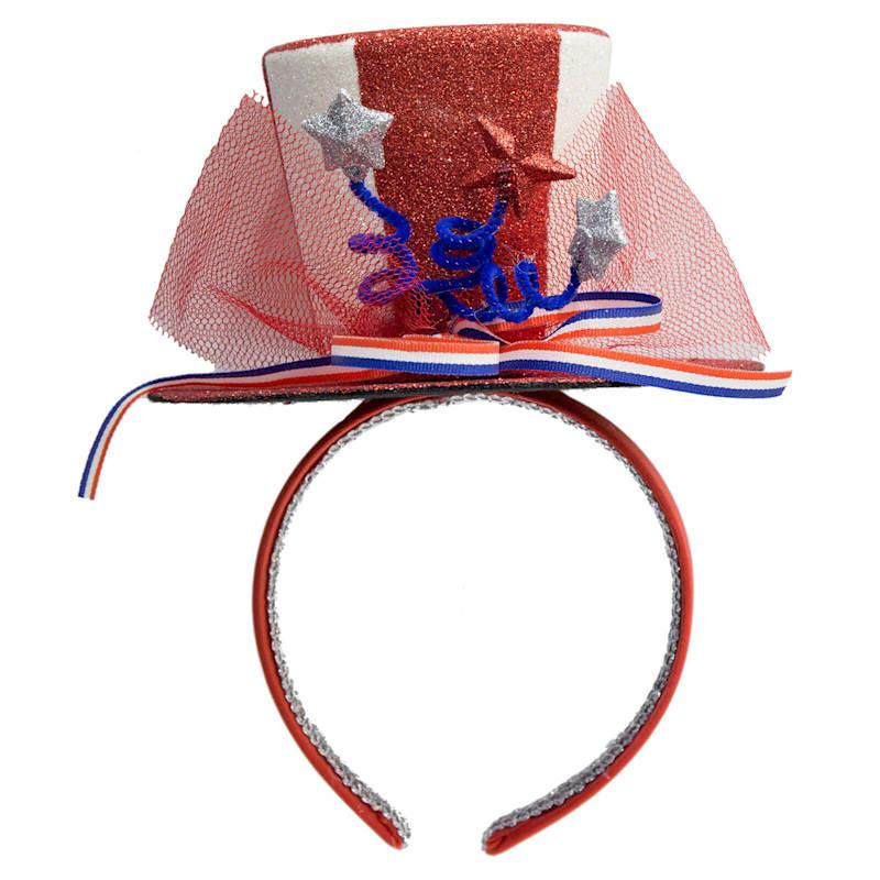Patriotic Top Hat Headband - Red
