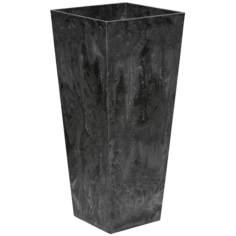 27.5in. Ella Tall Artstone Self Watering Planter Black