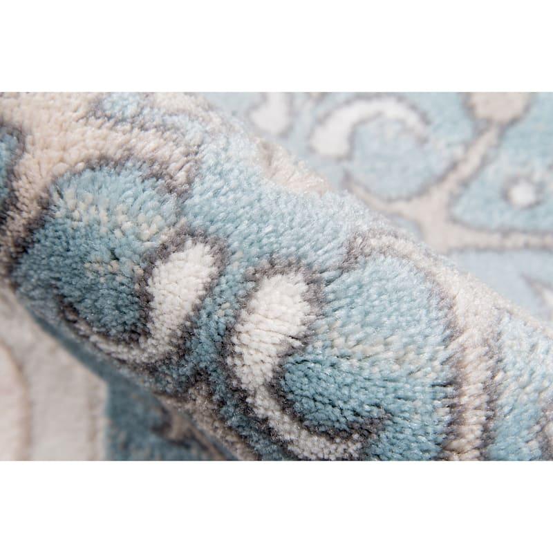 (B464) Bar Harbor Blue & Ivory Area Rug, 3x5