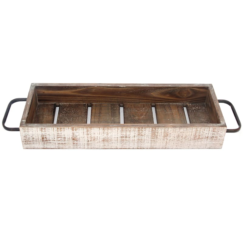 Wood White Wash Long Tray With Metal Handle