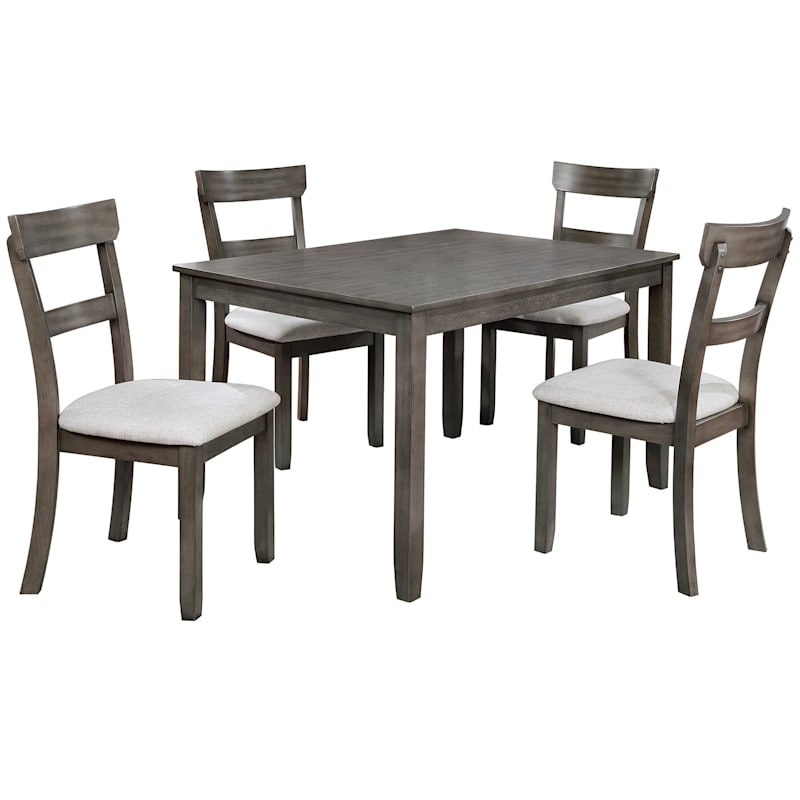 5-Piece Grey Dining Set with Cream Upholstery