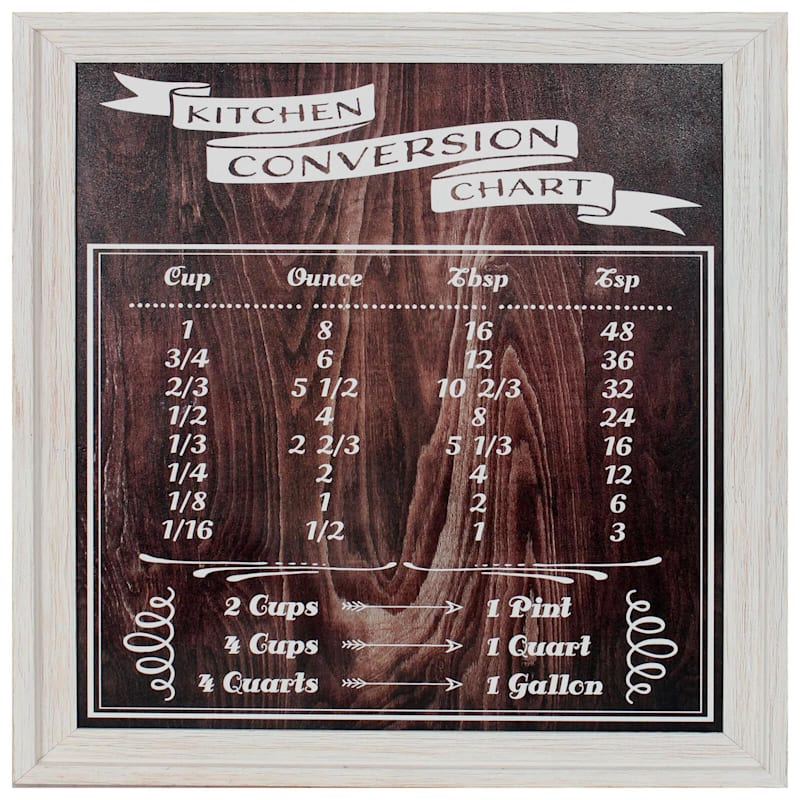 18X22 Kitchen Conversion Chart Rustic Framed Art