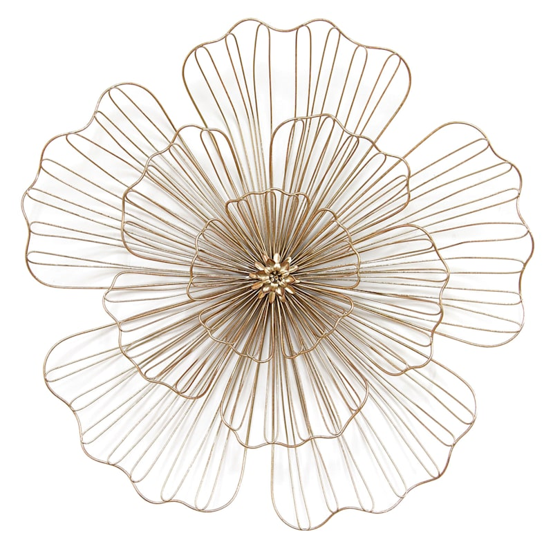 23in. Gold Wire Flower Wall Decor