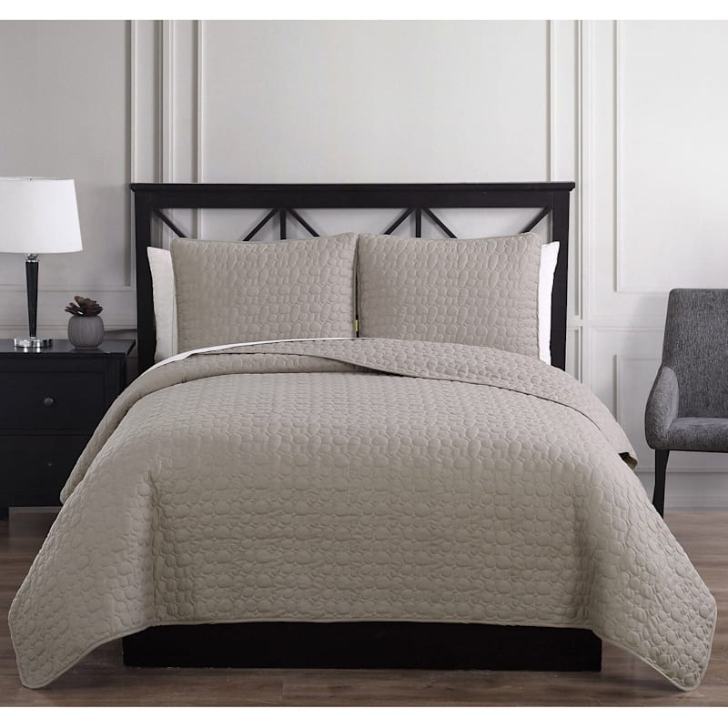 Pebble Stitch Natural 3-Piece Quilt Set King
