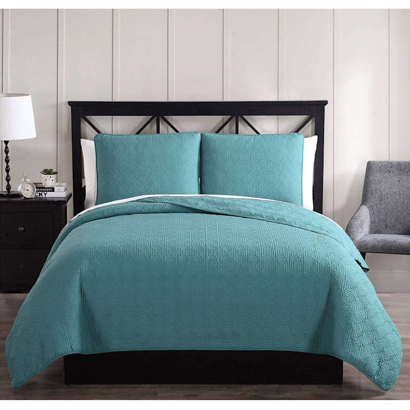 Ettori Blue 3-Piece Stitch Quilt Set Full/Queen