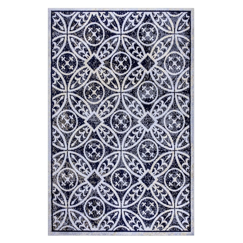 (D361) Navy & Cream Trellis Circles Area Rug, 5x7