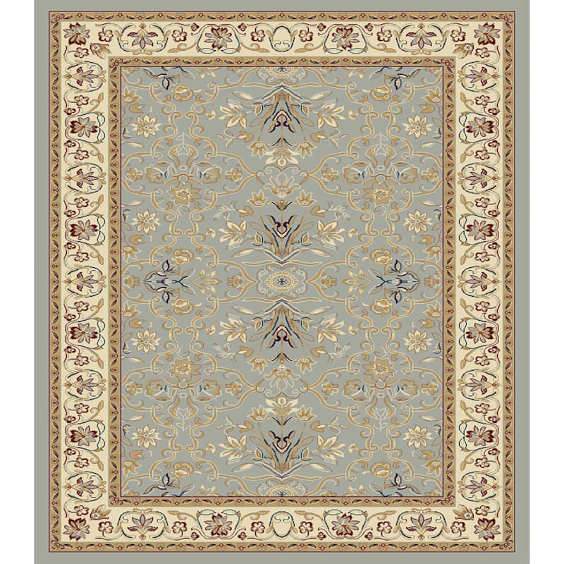 (D363) Traditional Blue & Ivory Area Rug, 7x9