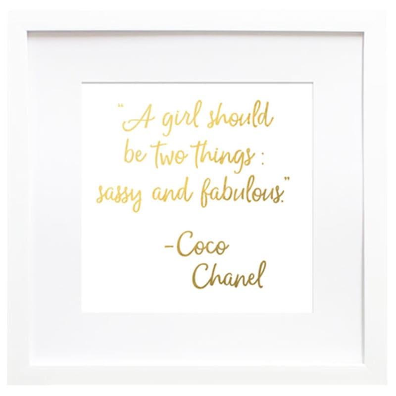 19X19 Sassy Fab Chanel Typography Under Glass Art