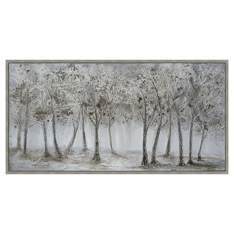 28X56 Silver Trees Framed Enhanced Canvas
