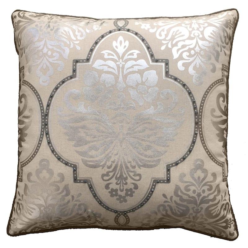 Grace Foil Damask Nailhead Pillow 18X18
