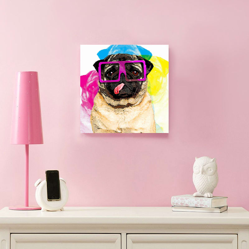 12X12 Colorful Pug Canvas Art