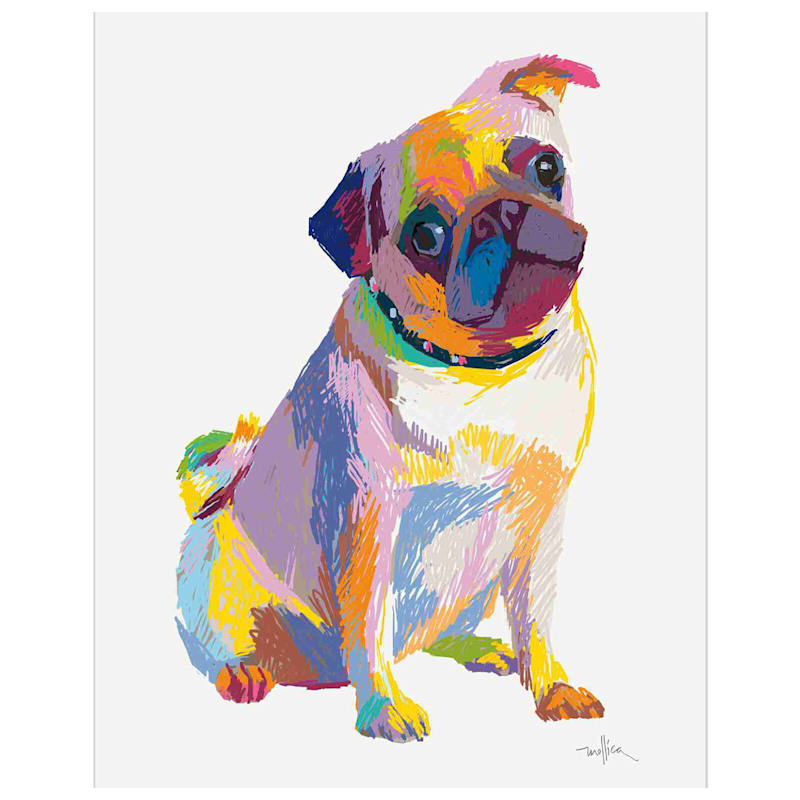 11X14 Colorful Pug Sketch Canvas Art