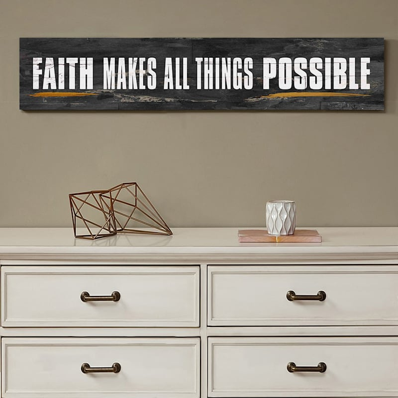 36X6 Faith Makes All Things Possible Foiled Canvas Art