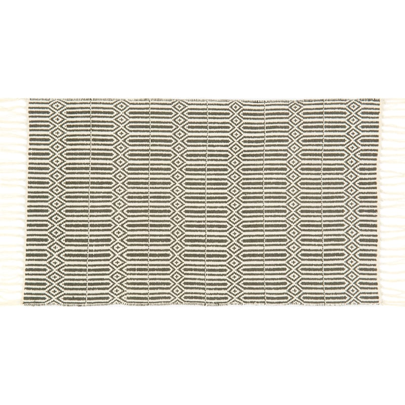 Keala Grey Accent Rug With Fringe, 2x4