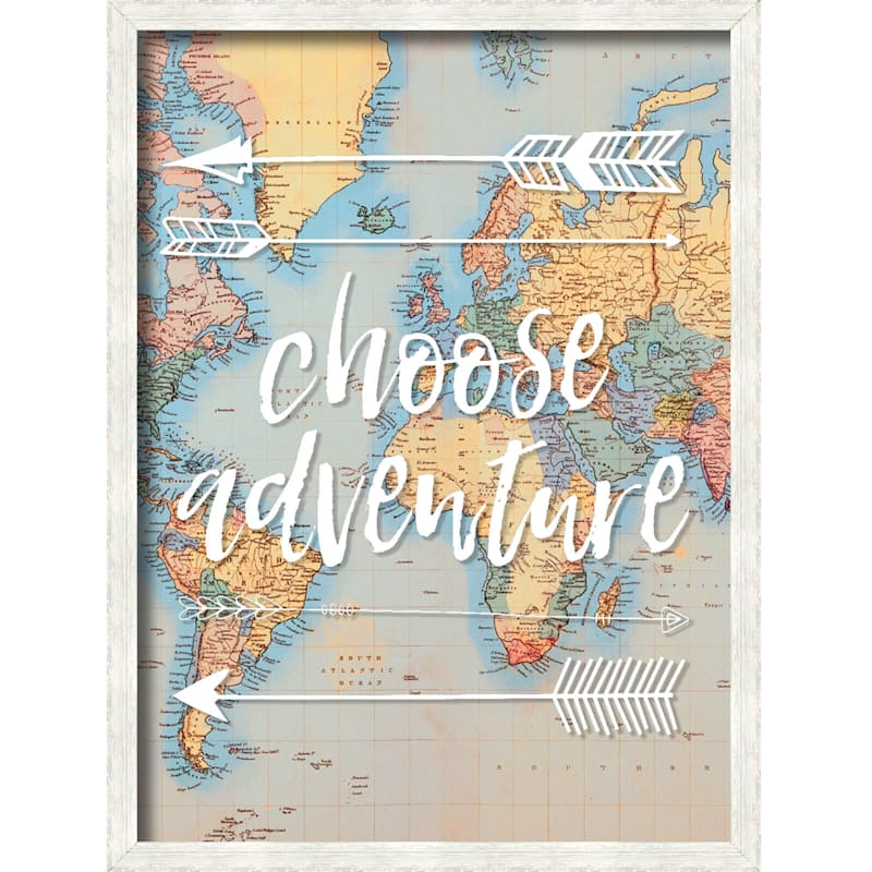 18X24 Choose Adventure - Map Art Framed/Glass Art