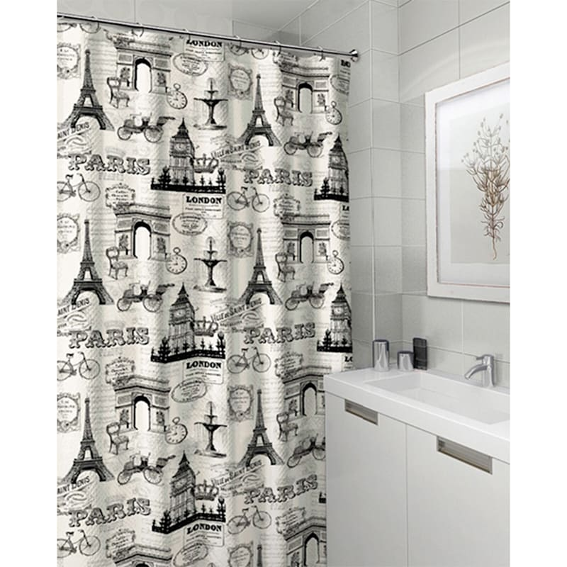 Bon-Paris Ivory 13-Piece Printed Shower Curtain With Hooks Set