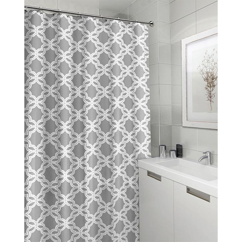 Glove Grey 13-Piece Printed Shower Curtain With Hooks Set