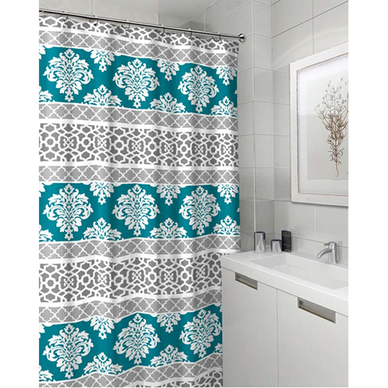 Riverside Teal 13-Piece Printed Shower Curtain With Hooks Set