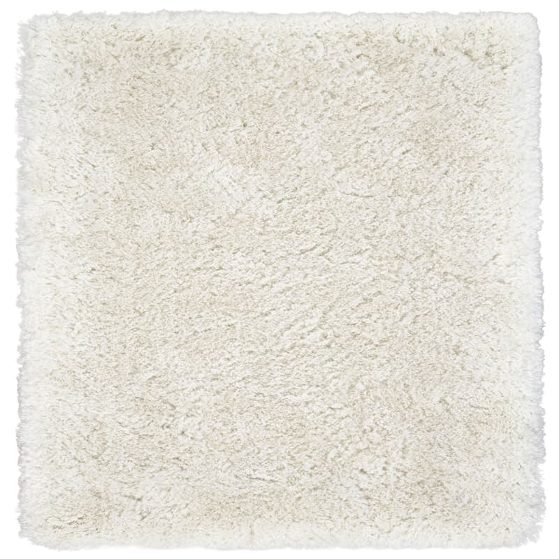 (C95) Thick Polyester Ivory Shag Rug, 5x7