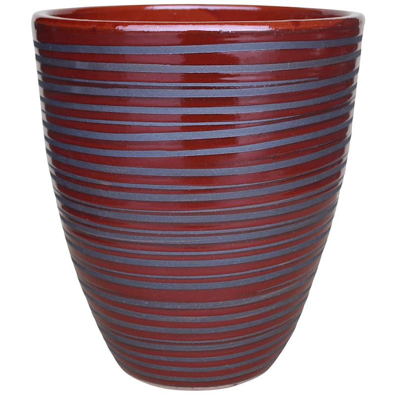 Pinstripe Ceramic Planter 12in. Ps Red