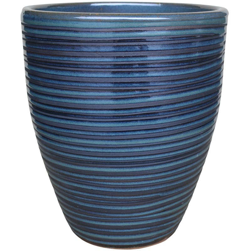 Pinstripe Ceramic Planter 12in. Black Diamond