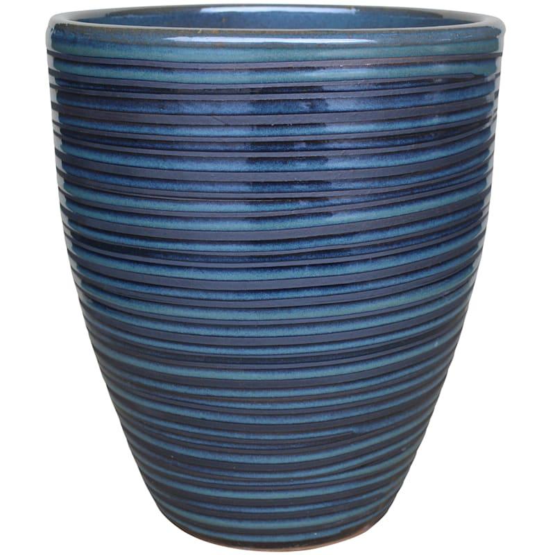 Pinstripe Ceramic Planter 12in. Black Diamond