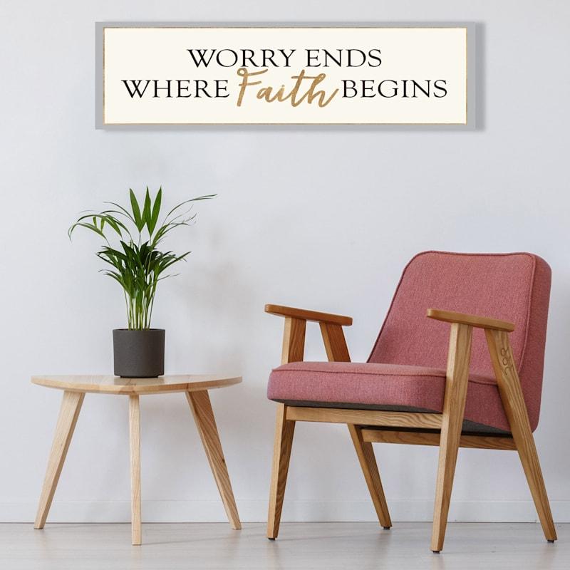 36X12 Worry Ends Where Faith Begins Foiled Canvas Art