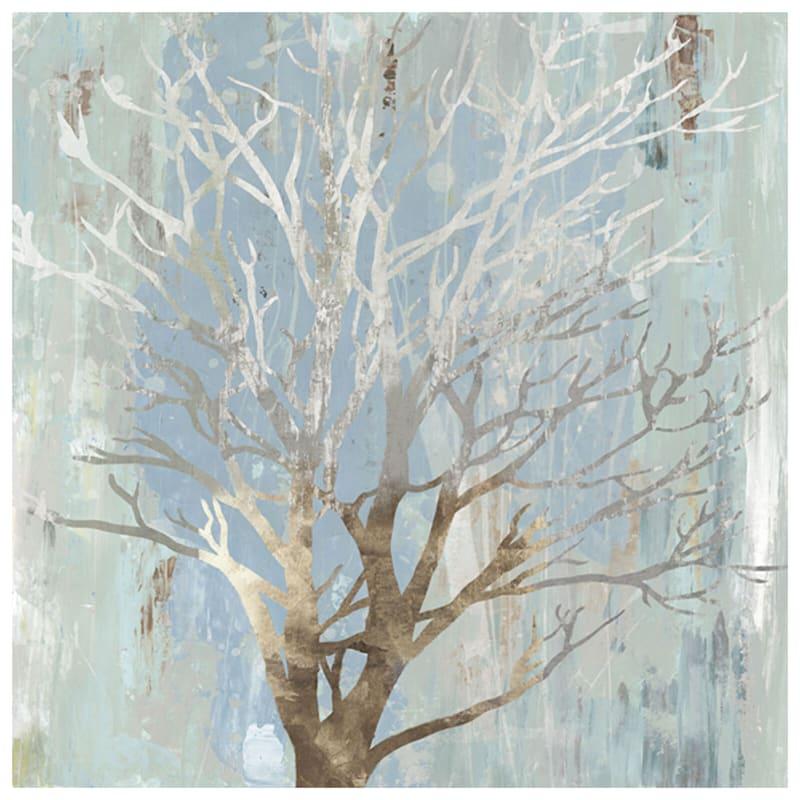 27X27 Gold/Blue Embellished Tree Canvas
