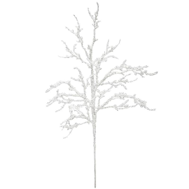 "White Glitter & Tinsel Twig Branch, 26"""