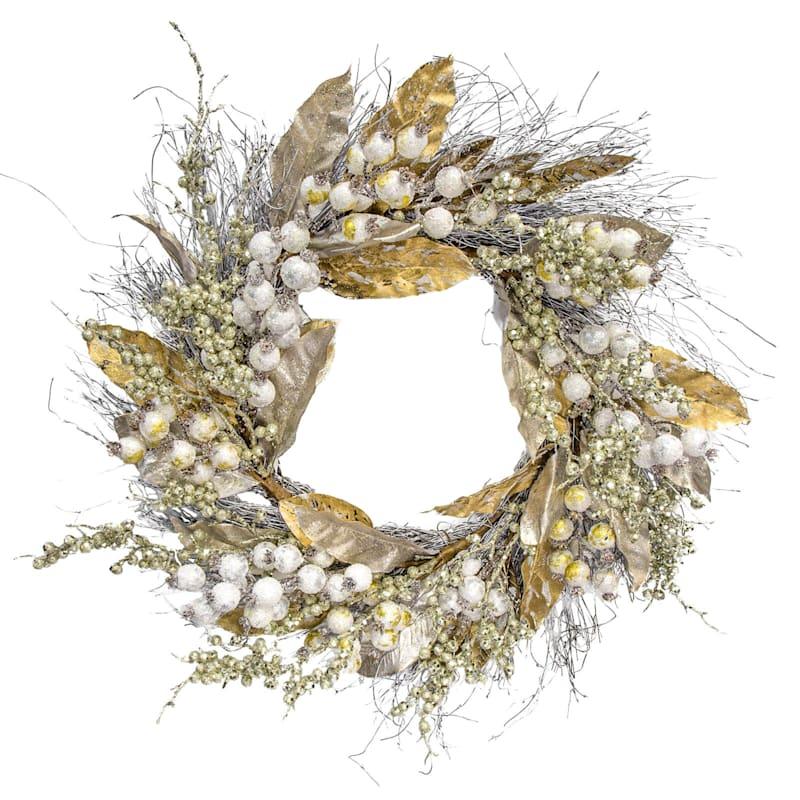 "Gold Glitter & Berries Wreath, 24"""