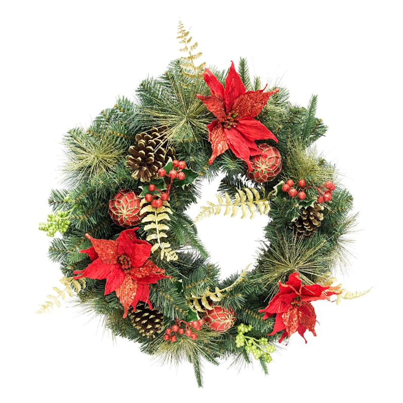 "Glitter Poinsettia, Ornament & Pine Wreath, 24"""