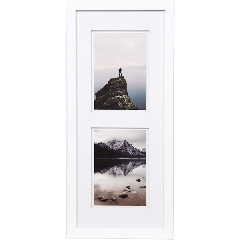 Pick And Mix 2-Opening 5X7 White Mat Linear Photo Frame