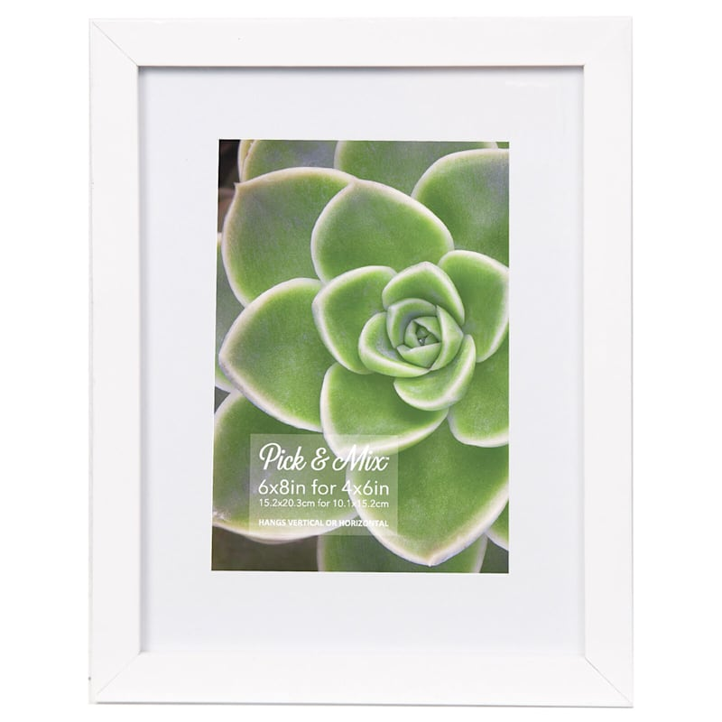 Pick And Mix 6X8 Matted To 4X6 White Mat Linear Photo Frame