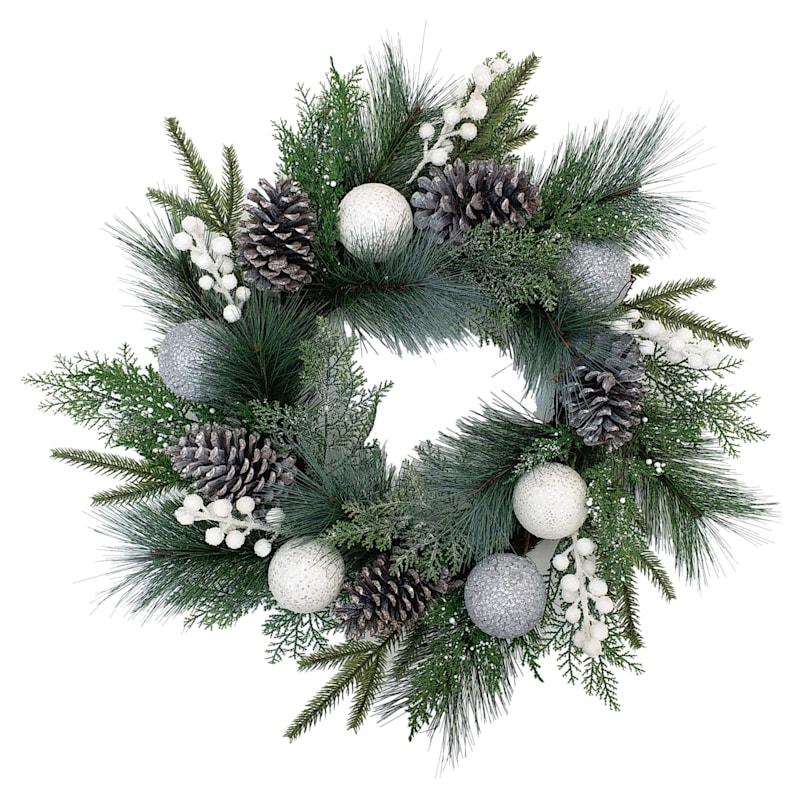 "Christmas Ball Wreath, 24"""